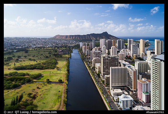 Aerial view of Ala Wai Canal and downtown Waikiki. Honolulu, Oahu island, Hawaii, USA (color)