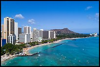 Aerial view of Kuhio Beach, Waikiki skyline and Diamond Head. Waikiki, Honolulu, Oahu island, Hawaii, USA ( color)
