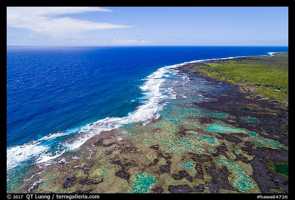 Aerial view of Kapoho tidepools and coast. Big Island, Hawaii, USA (color)