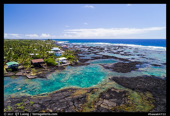Aerial view of Kapoho tidepools and houses. Big Island, Hawaii, USA (color)
