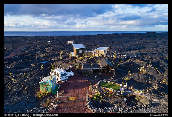 Aerial view of house on lava field, Kalapana. Big Island, Hawaii, USA (color)