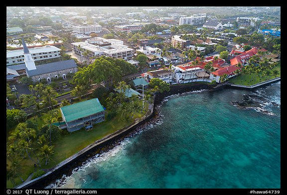 Aerial view of Kailua with Hulihee Palace. Hawaii, USA (color)