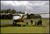 Plane on the airstrip of Ofu Island. American Samoa ( color)