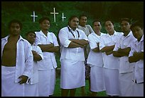 Sunday men churchgoers traditionally dressed, Pago Pago. Pago Pago, Tutuila, American Samoa ( color)