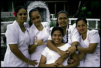 Young women dressed in white for sunday church, Pago Pago. Pago Pago, Tutuila, American Samoa ( color)