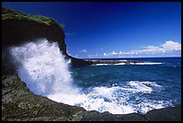 Crashing wave at Maamaa cove. Aunuu Island, American Samoa