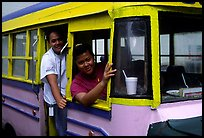 Women in a colorful bus. Pago Pago, Tutuila, American Samoa ( color)