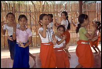 Girls learn traditional dancing at  Apsara Arts  school. Phnom Penh, Cambodia (color)