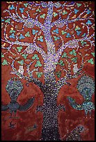 Mosaic of the tree of life on the Sim of Wat Xieng Thong. Luang Prabang, Laos (color)