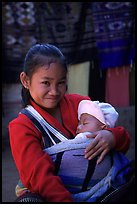 Girl and baby, Ban Xang Hai. Laos ( color)