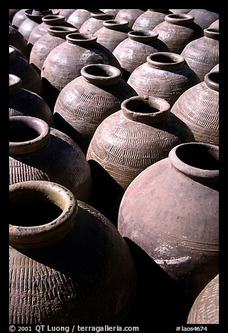 Jars in Ban Xang Hai, which used to be a pottery village. Laos (color)