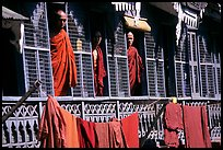 Monks in residential quarters, Shwedagon Paya. Yangon, Myanmar