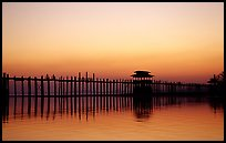 U Bein bridge, worlds longest teak span, Amarapura. Mandalay, Myanmar (color)