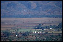 Stupas in the Heho plain. Shan state, Myanmar (color)