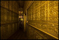 Mirrored maze-like walkway inside Botataung Pagoda. Yangon, Myanmar ( color)
