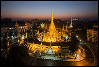 City Hall, Sule Pagoda, and Independence Monument at dawn. Yangon, Myanmar ( color)