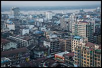 Indian quarter and Yangon River from above. Yangon, Myanmar ( color)