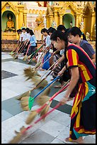 Floor sweepers, Shwedagon Pagoda. Yangon, Myanmar ( color)