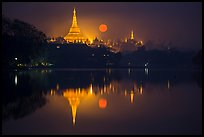 Moonset over Shwedagon Pagoda and Kandawgyi Lake. Yangon, Myanmar ( color)