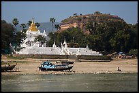 Settawya Pagoda and unfinished Mingun Pagoda from river, Mingun. Myanmar ( color)