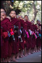 Monks lining up with alms bowls, Mahagandayon Monastery. Amarapura, Myanmar ( color)