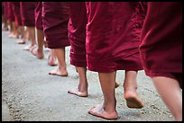 Bare feat of monks, Mahagandayon Monastery. Amarapura, Myanmar ( color)