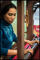 Wowan working loom. Amarapura, Myanmar ( color)