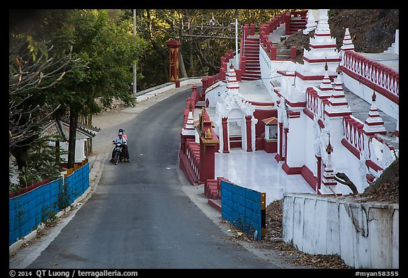 Road up Sagaing Hill, Sagaing. Myanmar (color)