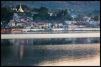 Town and ripples on Pone Tanoke Lake. Pindaya, Myanmar ( color)