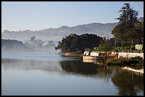 Pone Tanoke Lake with early morning mist. Pindaya, Myanmar ( color)