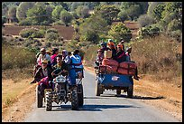 Tractors loaded with passengers. Shan state, Myanmar ( color)