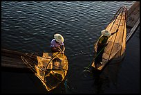 Above view of Intha fishermen. Inle Lake, Myanmar ( color)