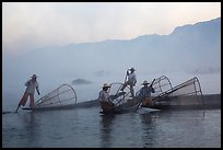 Intha fishermen gathering in dawn mist. Inle Lake, Myanmar ( color)