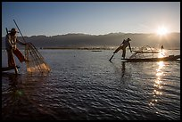 Intha fishermen and sun. Inle Lake, Myanmar ( color)