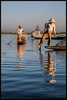 Intha fishermen and reflections. Inle Lake, Myanmar ( color)