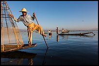 Group of Intha people fishing. Inle Lake, Myanmar ( color)