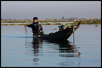 Fisherman retrieves net. Inle Lake, Myanmar ( color)