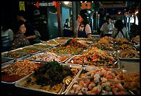 Variety of spicy foods in a market. Bangkok, Thailand