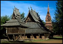 Thai rural temple architecture in northern style. Muang Boran, Thailand