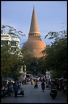 Phra Pathom Chedi  dominating the town skyline. Nakhon Pathom, Thailand