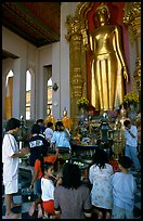 Worshipers at Phra Pathom Chedi. Nakkhon Pathom, Thailand (color)
