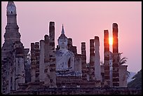 Wat Mahathat at sunset. Sukothai, Thailand