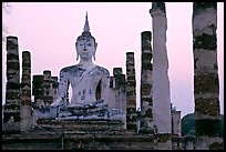 Wat Mahathat, the most important complex of Sukhothai, dusk. Sukothai, Thailand
