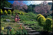 Children in traditinal hmong dress in flower garden. Chiang Mai, Thailand ( color)