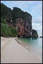Pranang Cave Beach and limestone crag, Railay. Krabi Province, Thailand ( color)