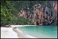 Pranang Cave Beach and limestone cliff, Railay. Krabi Province, Thailand ( color)