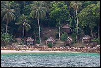 Beachfront huts and palm trees, Ko Phi-Phi Don. Krabi Province, Thailand (color)