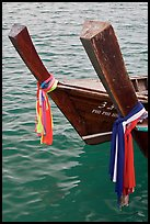Ribons on prow of two longtail boats, Ko Phi-Phi Don. Krabi Province, Thailand ( color)