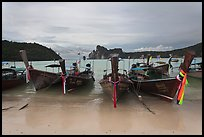 Long tail boats and bay, Ao Lo Dalam, Ko Phi-Phi island. Krabi Province, Thailand ( color)