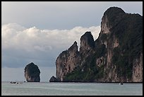 Cliffs and clouds, Lo Dalam bay, Ko Phi-Phi island. Krabi Province, Thailand ( color)
